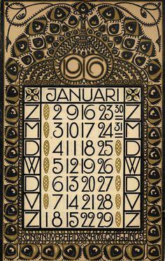Art Nouveau Dutch calendar page, January 1916. | JV