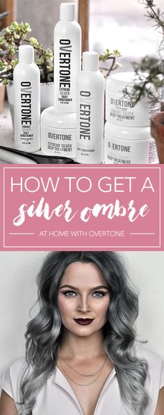 Silver Ombre Hair Dye Tutorial with oVertone Check out this tutorial to learn how to get that perfect silver ombre hair at home with oVertone! It's a DIY ombre made easy. LOVE this hair color! Ash Grey Hair, Silver Ombre Hair, Grey Hair Dye, Dyed Hair Ombre, Dip Dye Hair, Brown Ombre Hair, White Hair, How To Ombre Your Hair, Ombre Hair At Home