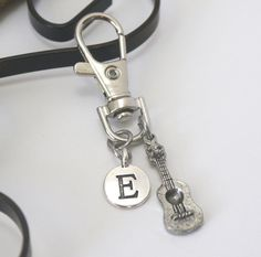Guitar Key Chain, Guitar Keychain, Gifts for Guitarist, Personalized, Letter Key Chain, Music Key Chain, Bag Accessory, Silver Guitar Him