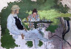 Pierre Bonnard. 1867-1947. Paris.  Le père et la soeur de l'artiste dans le jardin du Grand Lemps. The father and sister of the artist in the garden of Grand Lemps. 1894.   Paris. Orsay.