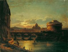 The Athenaeum - View on Nightly Rom with St. Peter and Sant' Angelo Oswald Achenbach