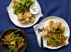 Seesamilohi, itämaiset kasvikset ja wasabikastike