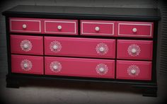 """Available for purchase. This dresser has been redone in Sherwin-Williams Exuberant Pink, Tri-Corn Black and white accents. Very nice, well made dresser. Yours today for only $150.00. Dresser measures 60"""" long, 18"""" wide and 32 1/2 tall. Pick up near downtown Joliet."""