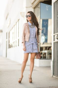 Wraparound :: Tied-sleeve shirtdress & Blush details :: Outfit ::  Jacket :: AllSaints Dress :: JOA Shoes :: YSL Bag :: Louis Vuitton Accessories :: Karen Walker sunglasses, Michael Kors watch, Dylanlex necklace, Wendy's Lookbook X Tacori Promise Bracelet Published: April 20, 2014