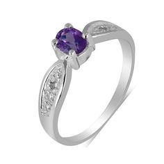 Flowing lines and smooth curves mark this #gorgeous 925 sterling silver ring with a lovely round cut amethyst #solitaire in the middle and glittering #diamonds on the sides.A promise of perfection.