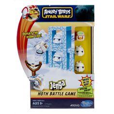 All'interno troverete: 3 personaggi Angry Birds Star Wars (Luke Skywalker in tenuta invernale e 2 Snowtrooper maiali), 1 Fionda Snowtrooper, 12 Blocchi di Costruzione trasparenti Jenga, 2 dadi da 6 speciali, una scheda e la guida di gioco.