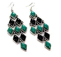 JH-Western Stone Dangle Earrings  JHIE1069 Turquoise Black