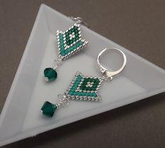 Boucles d'oreilles personnalisables, fait main, perles délicas Miyuki et toupie Swarovski, argenté et vert