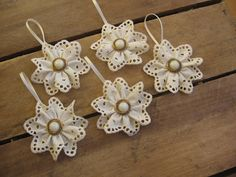 Eyelet and Button Christmas Ornaments Set of 5 Cream Eyelet Gold and White Button Ornaments. , via Etsy.