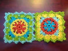 Lion Brand Yarns free pattern: Crochet Granny Square Floral Scarf. For this I'm trying a new type of yarn for me - single ply yarn by Stitch.Rock.Love SHEEP(ISH) 70% Acrylic and 30% Wool