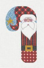 *NEW* Danji LG. Candy Cane Striped Santa handpainted Needlepoint Canvas Ornament