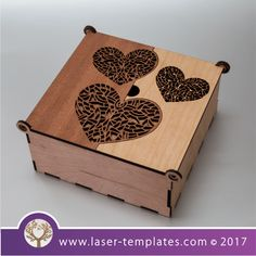 Love Heart Wooden Box template for laser cutting, search 1000's