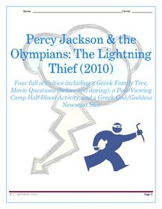 Four Fabulous Activities to use with Percy Jackson: The Lightning Thief (movie) - lessons can be done alone or together (for one week's worth of activities).  $