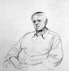 David Hockney Colin St. John Wilson. London. 16th June 1999, 1999 pencil & white crayon on grey paper using a camera lucida 15 x 15 in (38.1 x 38.1 cm) 16 3/8 x 16 3/8 in (41.6 x 41.6 cm) (fr)