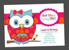 Owl Birthday Invitations Pink and Orange by Cutie Patootie Creations  www.cutiepatootiecreations.com