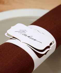 Oh, I like this! - cnm. Laser Cut Napkin Ring Place Card  20 Pieces by RocheleauDesigns, $18.00
