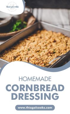 Thanksgiving dinner is complete when you serve up a big ol' casserole dish of Homemade Cornbread Dressing. So delicious because it's made with flavorful ingredients including fresh herbs, homemade cornbread and Italian turkey or chicken sausage! Click through now to grab this amazing side dish recipe. #thanksgivingrecipes #christmasrecpes #easycasseroledinner Fall Crockpot Recipes, Fall Recipes, Cooking Recipes, Side Dishes For Bbq, Side Dish Recipes, Christmas Recipes, Thanksgiving Recipes, Homemade Cornbread Dressing, Chicken Sausage