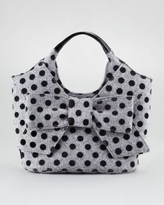 Grey and black Polka dot purse with bow