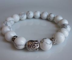 ☆ Semi-precious White Hoplite Mens Beaded Bracelet :→: Etsy Shop: LondonGem ☆