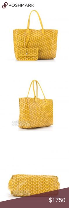 Goyard Yellow Monogram Coated Linen Saint Louis PM Yellow Monogram Coated Linen, Beige Linen Lining, One Pochette, Silver Tone Hardware, Yellow Leather Straps. Goyard Bags Shoulder Bags