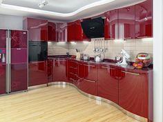Kitchen by Happy Irena Kitchen Cupboard Designs, Kitchen Cabinets Decor, Best Kitchen Designs, Kitchen Layout, Luxury Kitchen Design, Interior Design Kitchen, Home Decor Boxes, Red Kitchen, Design Case