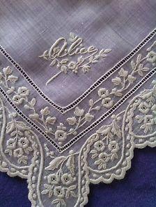 Whitework Embroidery Handkerchief / Fine / ALICE