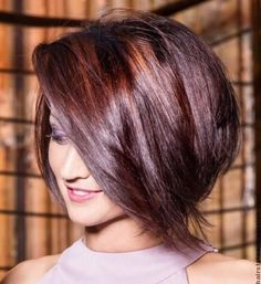 Stacked Bob Haircuts with Side Long Bangs