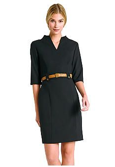 Tahari ASL Three-Quarter Sleeve Belted Sheath Dress
