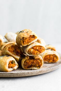 Delicious Vegan Sweet Potato Sausage Rolls with Chickpeas, Gochujang, Coriander and delicious Puff Pastry. Vegan and Ready in under an Hour. #sausagerolls #vegan #sweetpotato #christmas #snack #party #veganrecipes #simple