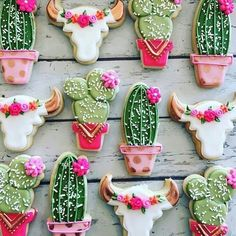 Cactus and blooms cookies