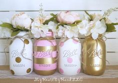 Pink and Gold Baby Shower Decorations, Baby Shower Mason Jars, Pink and Gold Bridal Shower, Distressed Mason Jars, Polka Dots Party Decor ! by MyHeartByHand on Etsy