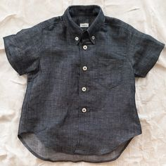 makie linen shirt - navy [BOY]