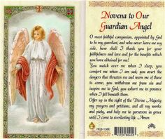 Catholic Holy Prayer Cards Novena To Our Guardian Angel