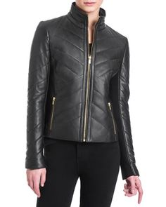 Eloise+Quilted+Leather+Jacket+by+Badgley+Mischka+at+Neiman+Marcus+Last+Call.