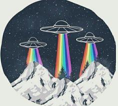 รูปภาพ alien, rainbow, and ufo Et Wallpaper, Les Aliens, Posca Art, Art Inspo, Cool Art, Graffiti, Street Art, Street Style, Illustration Art