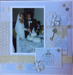 Wedding album - page 3. Another UFO finished from a double layout. Handmade by Michele Hinton