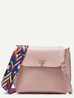 Shop Pink Wide Strap PU Flap Shoulder Bag online. SheIn offers Pink Wide Strap…