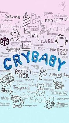 melanie martinez, cry baby, and wallpaper image Melanie Martinez Quotes, Crybaby Melanie Martinez, Melanie Martinez Mad Hatter, Melanie Martinez Drawings, Pity Party, Halsey, Cry Baby, She Song, Aesthetic Iphone Wallpaper