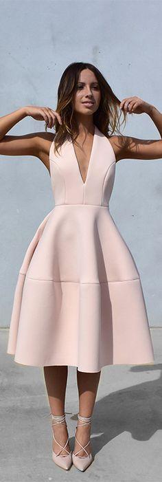 Shop the blush pink deep v-neck scuba dress and lace up heels.