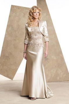 Tenerife - Vestido para la mamà de la novia con chaqueta, perfecto para señoras, color champagne