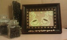 Coffee bean art, made with recycled greeting card and thrift store frame Coffee Bean Art, Coffee Beans, Doodle Doo, Thrifting, Recycling, Decorating Ideas, Doodles, Greeting Cards, Crafty