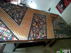 cool table made of beer caps...maybe not this particular design though :-/ Go Hoos!!