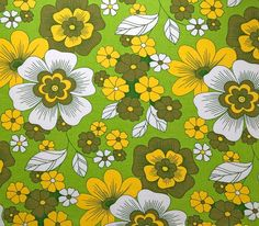 retro vintage 70s floral fabric by vintage4kids on Etsy, $9.35