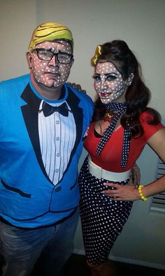 Pop art comic book Halloween makeup make and female pin up hair