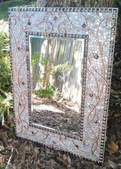 Large Mosaic Mirror - Lovely Copper, White and Bronze Stained Glass Rectangle Art Mirror with Decorative Copper Wire Design