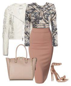 Blush&gray #2 by perlarara on Polyvore featuring polyvore fashion style Zimmermann Erdem Doublju Valentino Alaïa clothing