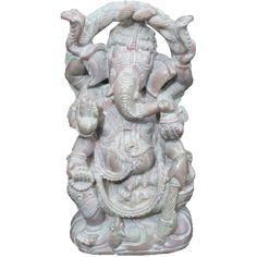 Ganesh Statue- Ganesha Good Luck Stone Statue Yoga Art India Sculpture... (7,945 INR) via Polyvore featuring home, home decor, decor, stone statue, stone statues, indian sculpture, india home decor, indian home decor and stone home decor