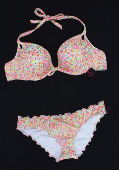 Victoria's Secret Bikini Confetti Shimmer Ruched Gorgeous Sexy NEW 34B M #VictoriasSecret #Bikini