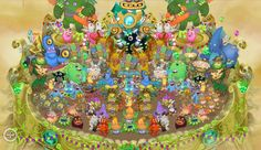 Gold island with all the rares! My Singing Monsters, Island, Cake, Desserts, Gold, Tailgate Desserts, Deserts, Kuchen, Islands