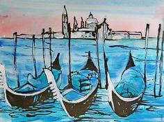 Venedig. Impression / Acryl & Aquarell, Tusche, 32 x 24 cm, 2015 Venice Italy, Watercolour, Painting